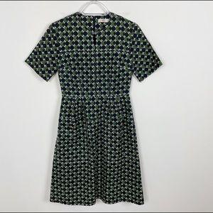 Orla Kiely Spot Square Green Geometric Dress